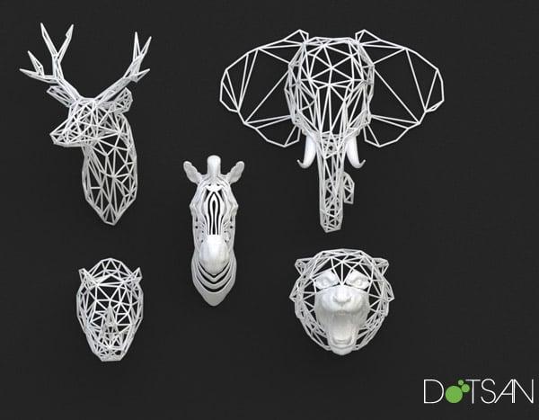 3d Printed Animal Heads Wireframe Wildlife Technabob