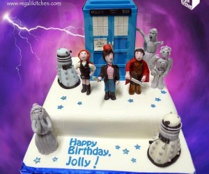 Doctor Who Cake with Edible Characters