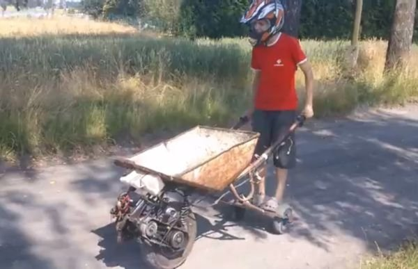 Teen Creates Engine Powered Wheelbarrow