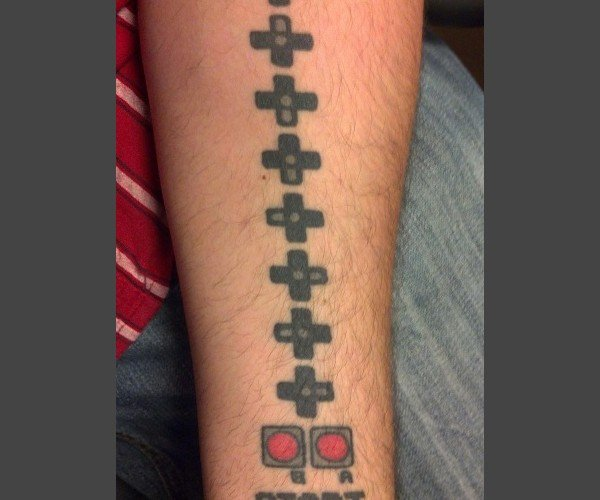 Konami Code Tattoo: I Guess He Has 30 Arms Now