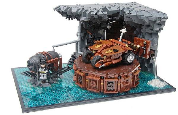 steampunk batcave and batman by legopard
