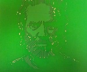 Flynn Lives printed circuit board art work of Kevin Flynn.