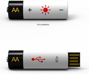 Rechargeable AA Battery USB Drive Stores Power and Data