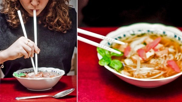 Soup Straw Chopsticks Do Double Duty for Slurping