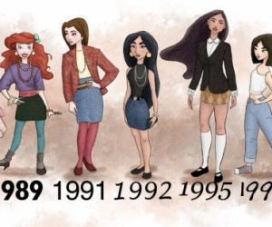 Disney Princesses Dressed in the Fashion of Their Times