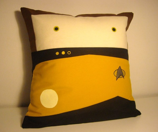Star Trek TNG Data Pillow: The Perfect Spot for Spot to Catch a Cat Nap