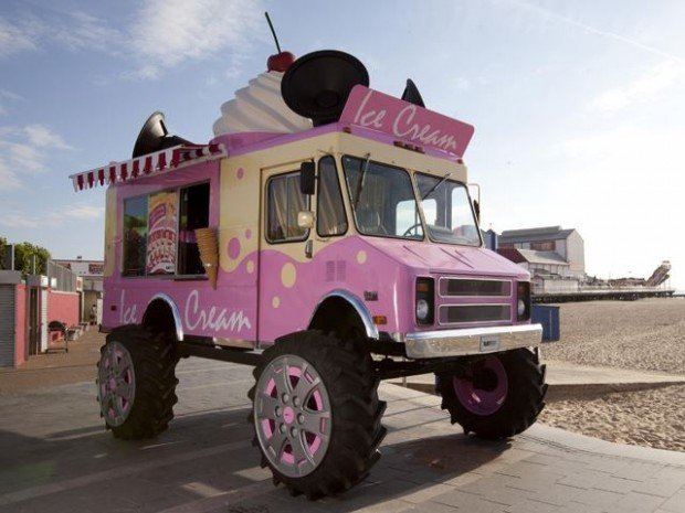 Monster Truck Ice Cream Truck: I'll Take One Giant Bomb-Pop, Please!