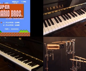 Player Piano and Robot Percussionist Play Classic Nintendo Game Tunes in Real Time: Play by Wire