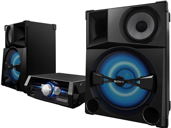 sony stereo. the new sony shake-5 stereo system may be a \u201cmini\u201d system, but it\u0027s backed by an ear-shattering 2,400 watts of power. this thing is guaranteed to turn your g