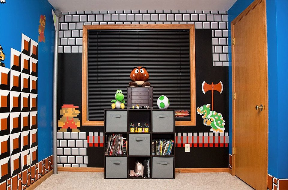 Cool parents make super awesome super mario room for their for Cool gamer bedroom ideas