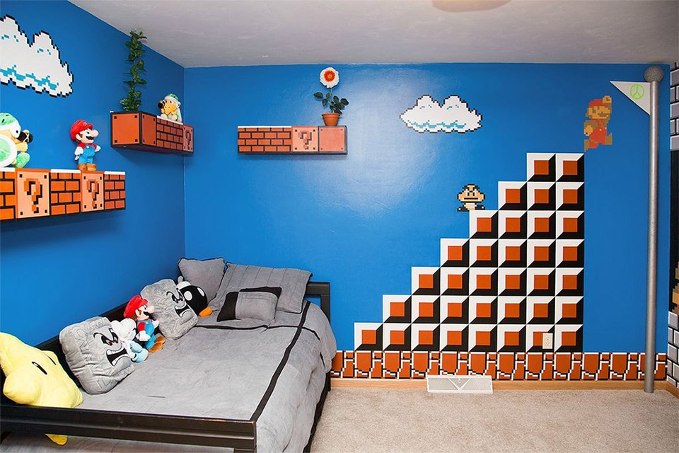 Cool parents make super awesome super mario room for their - Chambre mario ...