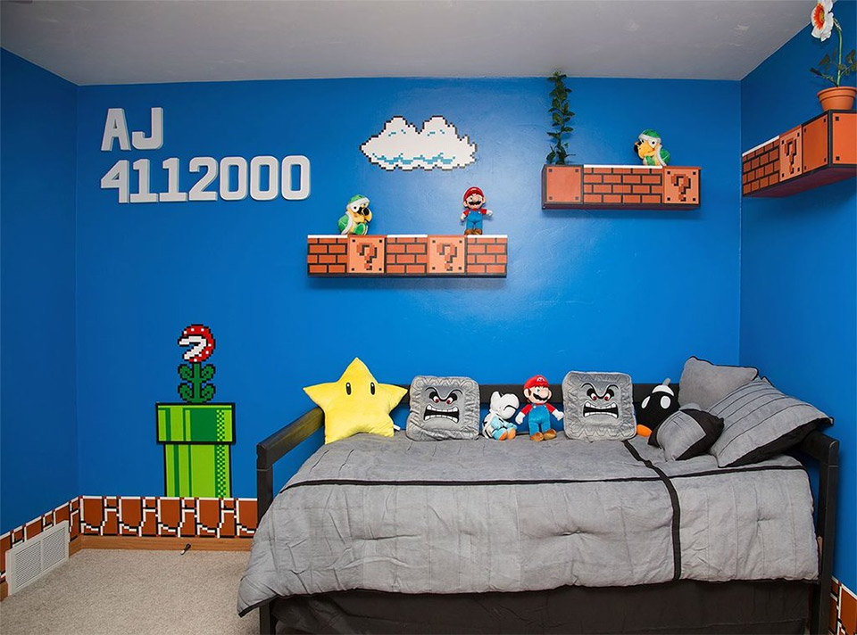 cool parents make super awesome super mario room for their daughter technabob. Black Bedroom Furniture Sets. Home Design Ideas