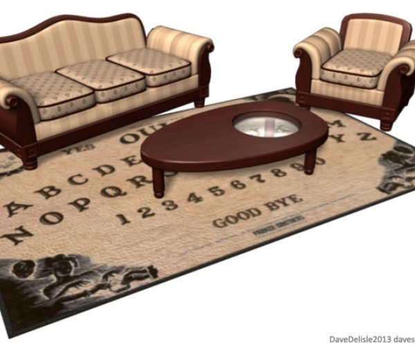 Ouija Board Rug and Coffee Table: Spirited Living Room Decor