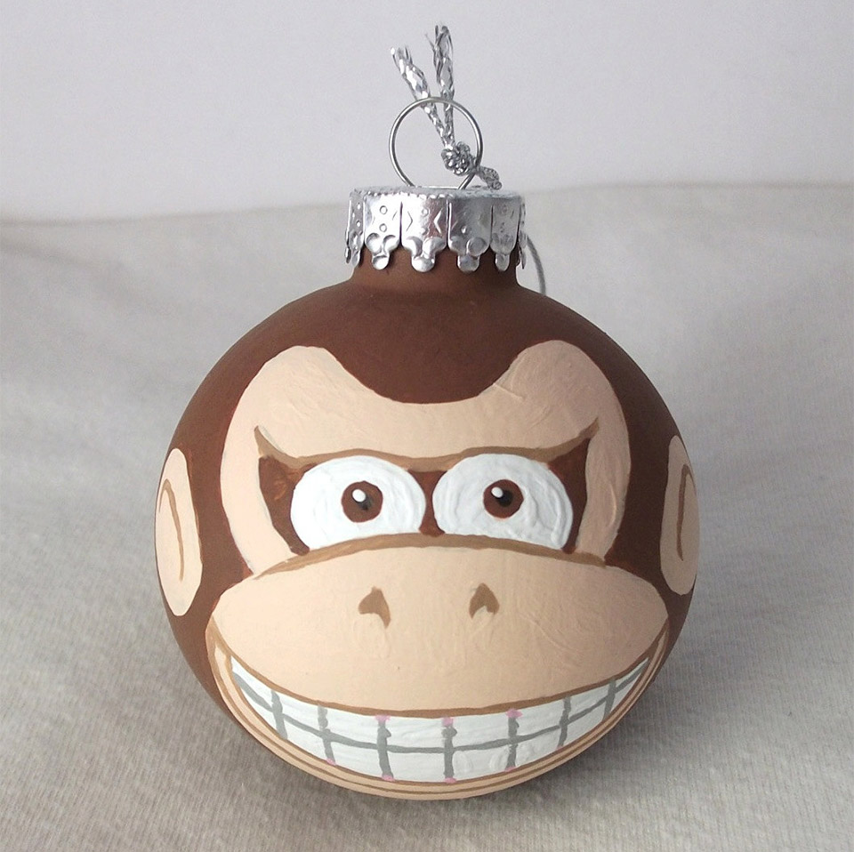 ... of cool handpainted Nintendo ornaments for your Christmas tree. You can get Donkey Kong, Mario and Yoshi, Link and Princess Zelda, Mega Man and more.