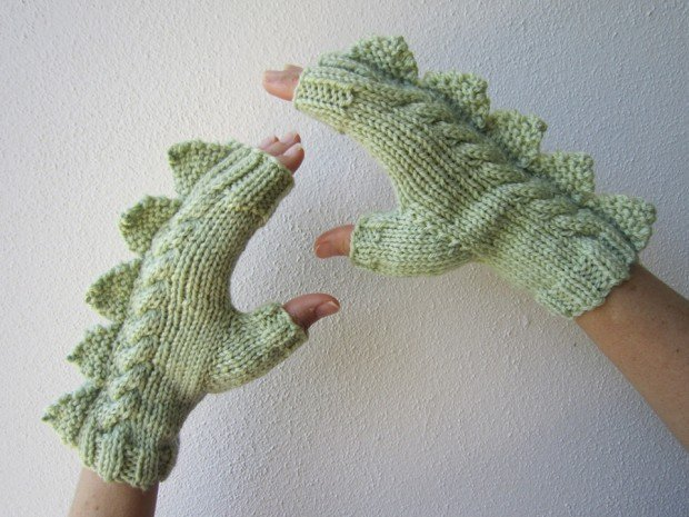 dragon dinosaur fingerless mittens by hotscones 620x465
