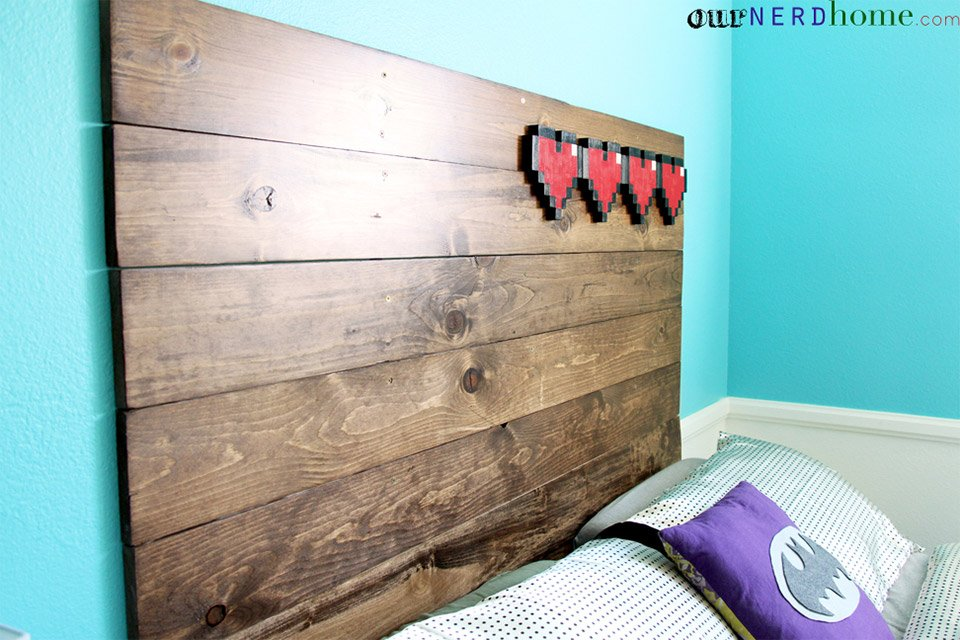 Wake up energized with a zelda life bar on your headboard for Room decor ideas for nerds