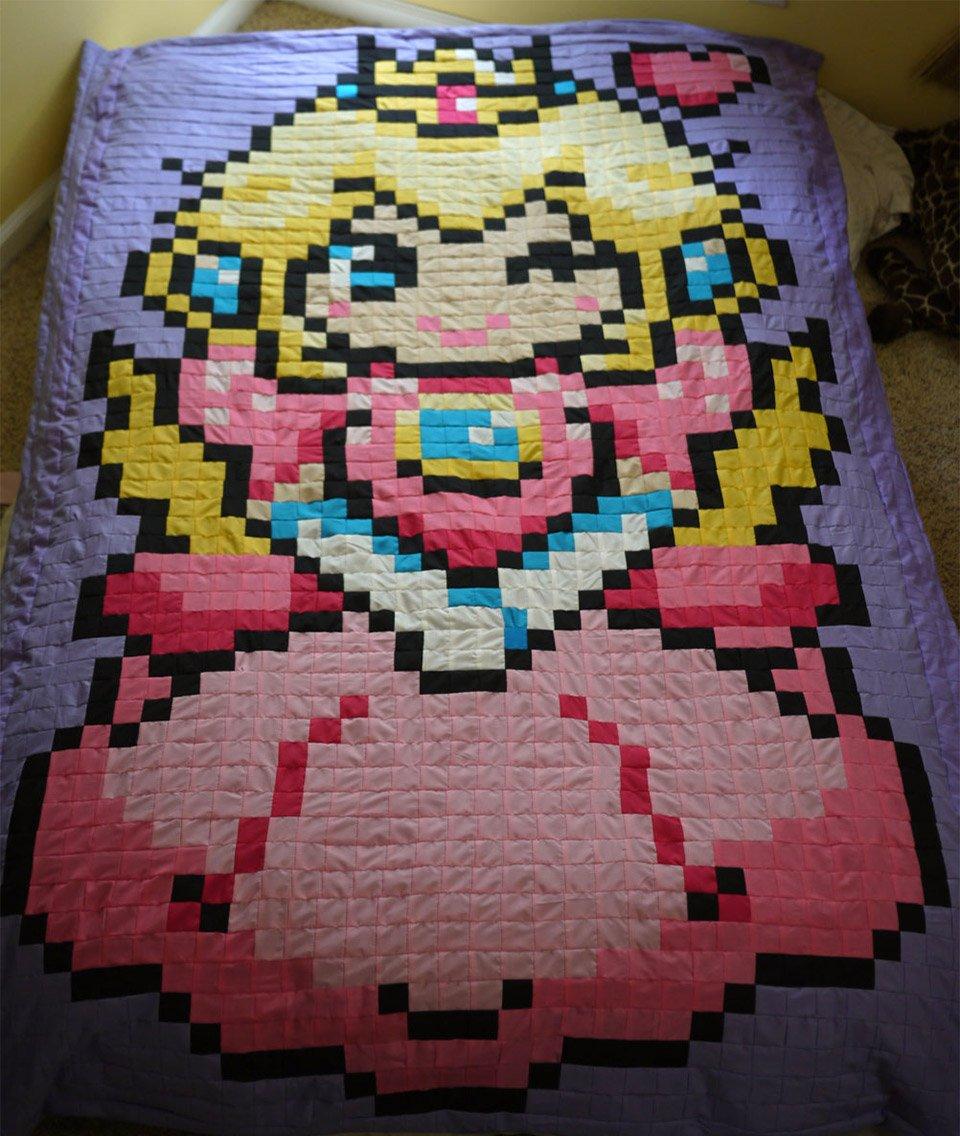 Princess Peach Pixel Quilt Is Peachy
