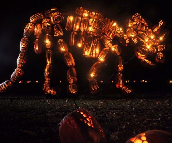 These Life-Size Dinosaurs Are Made from Carved Pumpkins