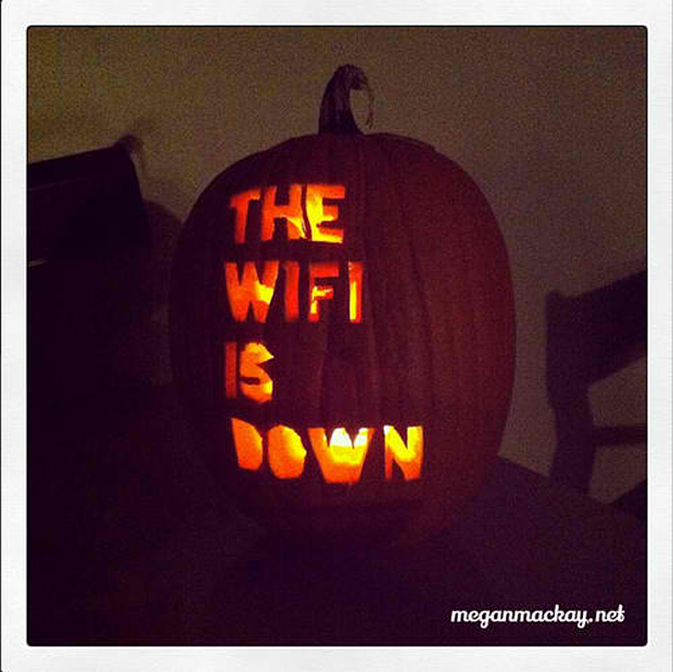 scary wifi is down pumpkin by megan mackay