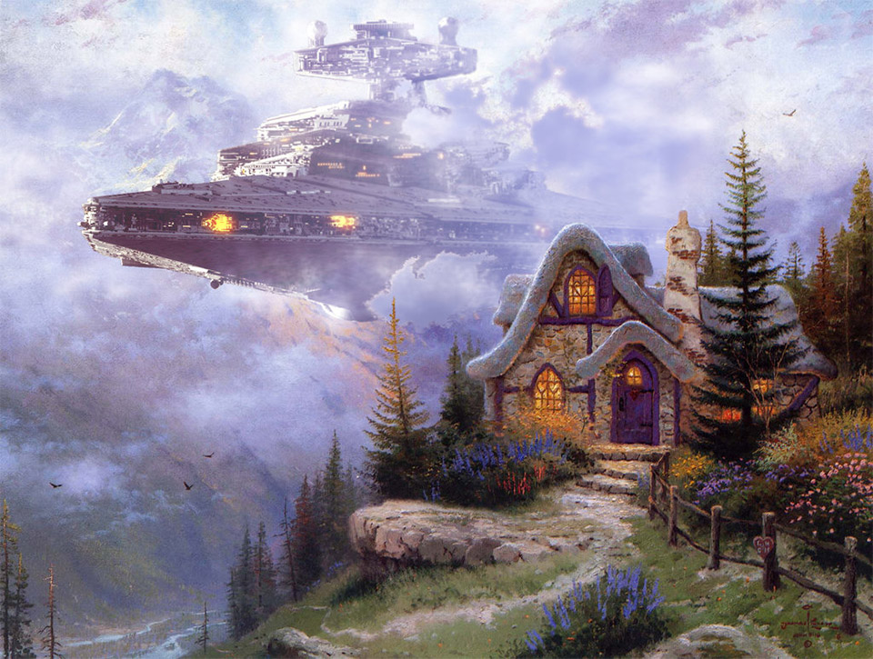 That S Much Better Star Wars Invades Thomas Kinkade