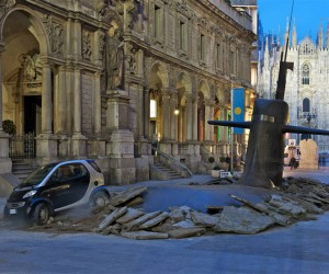 Submarine Rises through Milan Streets