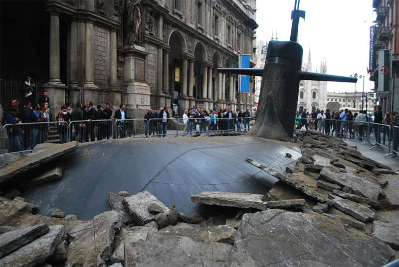 Submarine Rises Through Milan Streets on san francisco 6th street