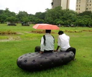 Outdoor 'Water Bench' Provides Comfy Seating, Collects Rainwater