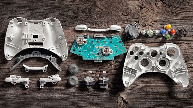 deconstructed video game controllers by brandon allen 620x348