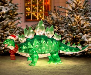 Light-up Animated Dinosaur Christmas Lawn Ornament: Jurassic Holidays
