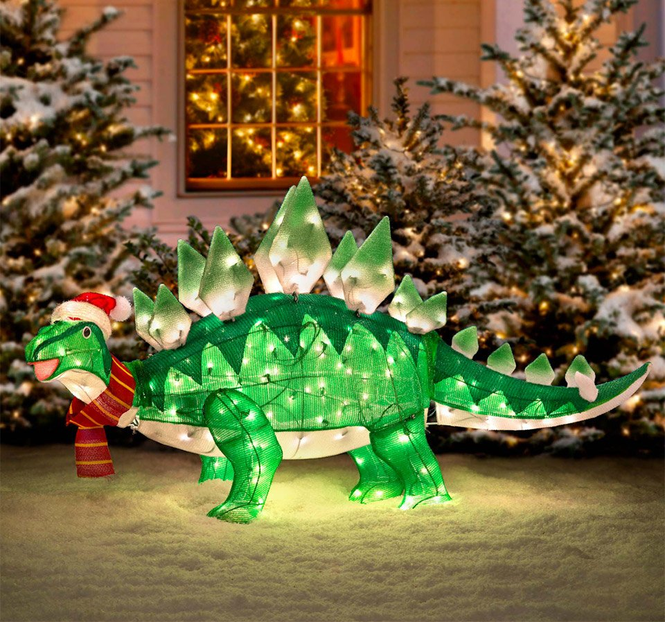 Light up animated dinosaur christmas lawn ornament