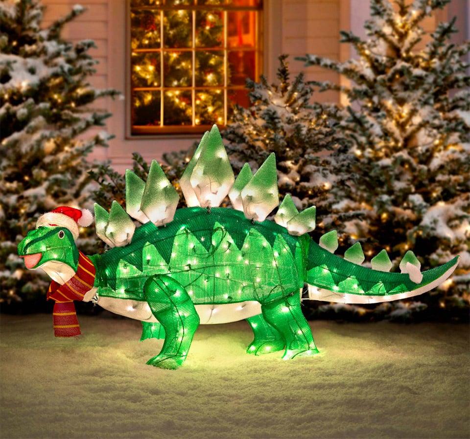 Light up animated dinosaur christmas lawn ornament jurassic holidays