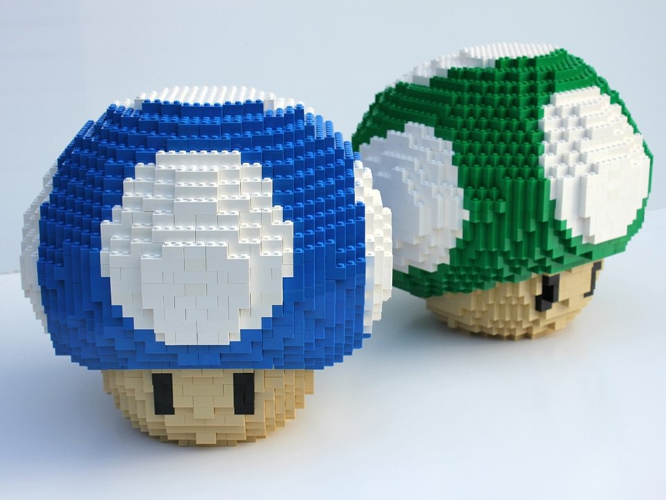 Giant Lego Mario Mushrooms L Up