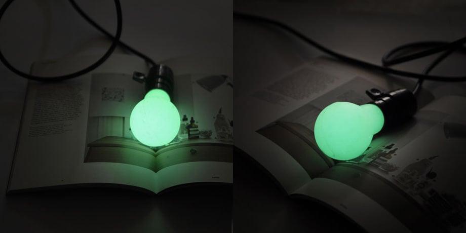 diy luminous bulb glow in the dark bulb. Black Bedroom Furniture Sets. Home Design Ideas