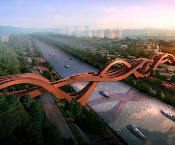 China Is Building This Twisty New Pedestrian Bridge… It Looks Exhausting