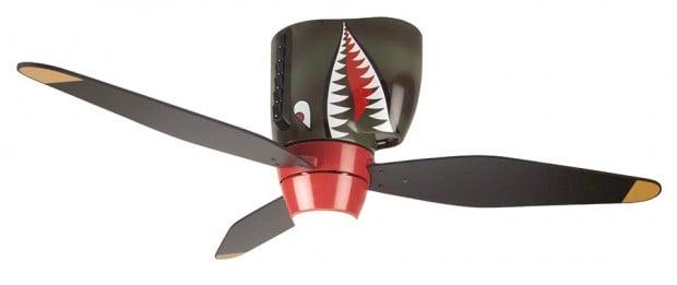 Shark warplane ceiling fan stay on target technabob p40tigersharkceilingfan1 zoom in aloadofball Choice Image