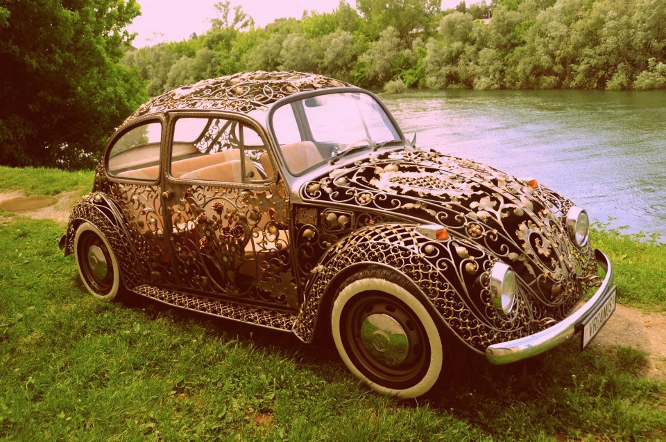 wrought iron volkswagen beetle that 39 s one classy chassis technabob. Black Bedroom Furniture Sets. Home Design Ideas
