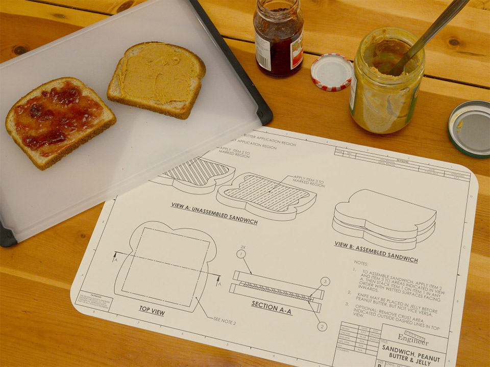 Food Blueprint Placemats: For Foodie Engineers - Technabob