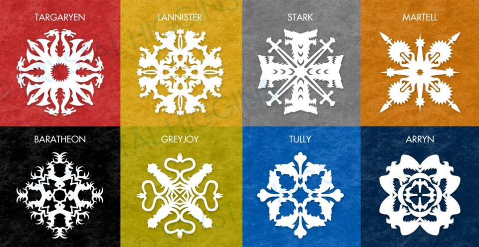 Game Of Thrones House Sigil Snowflakes Paper Cuts Are Coming