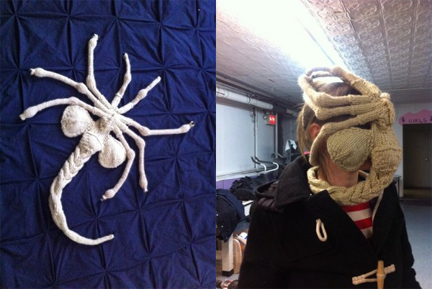 knit alien facehugger by knitrocious 620x415