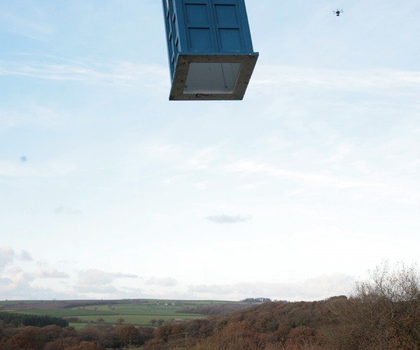 Life-size Flying TARDIS UAV: Propellers on the Outside