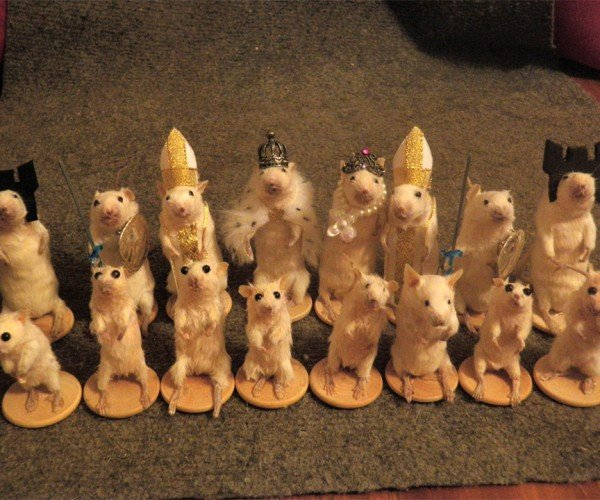Mouse Taxidermy Chess Set: Roll Your Dice, Move Your Mice
