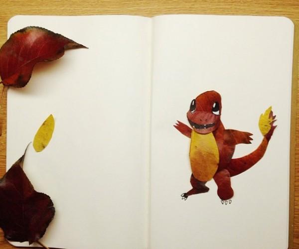 Natural Pokémon Collage: Leaf-type Art