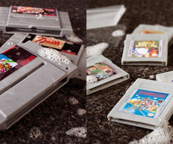 SNES and Game Boy Cartridge Soaps: In Bathroom, Cartridge Clean You