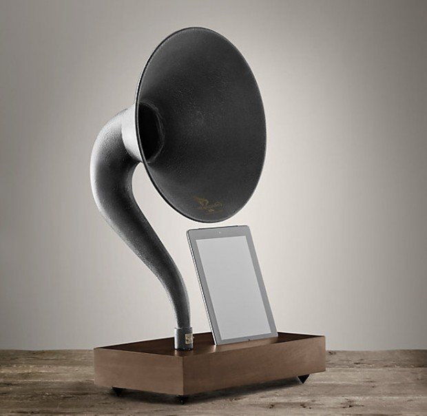 restoration hardware gramophone stand ipad iphone 620x604