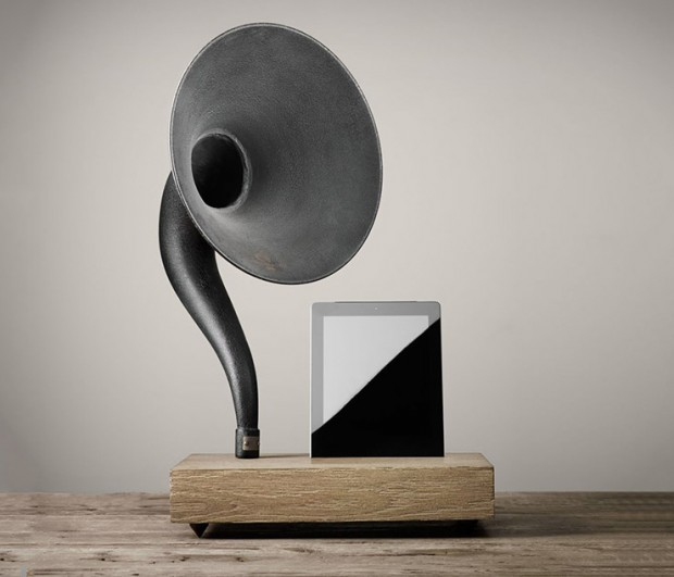 restoration hardware gramophone stand ipad iphone front photo