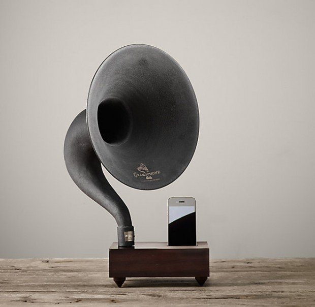 restoration hardware gramophone stand ipad iphone mini 620x604