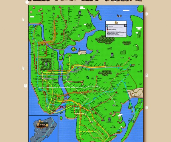 Super Mario New York City Subway Map: Underworld 1-1