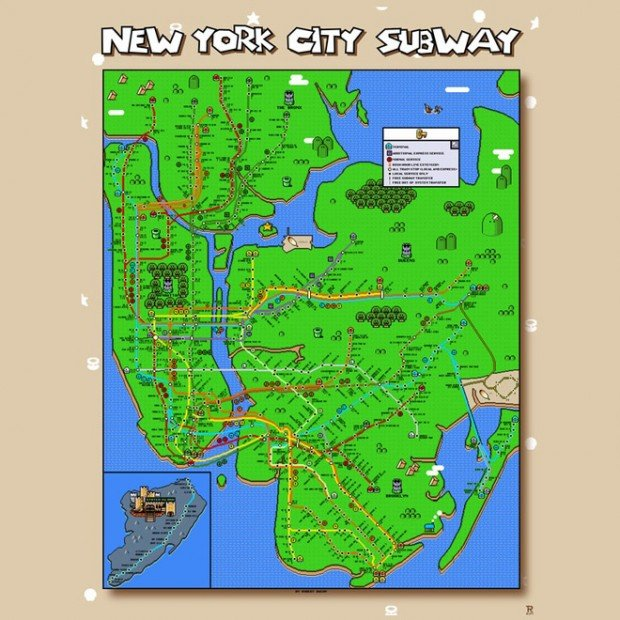 super mario world new york city subway map by robert bacon 620x620