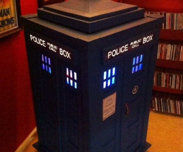 TARDIS Jukebox Made from Recycled Shipping and Pizza Boxes