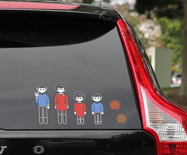 Star Trek Stick Figure Decals for Your Car: Family of Four to Beam up